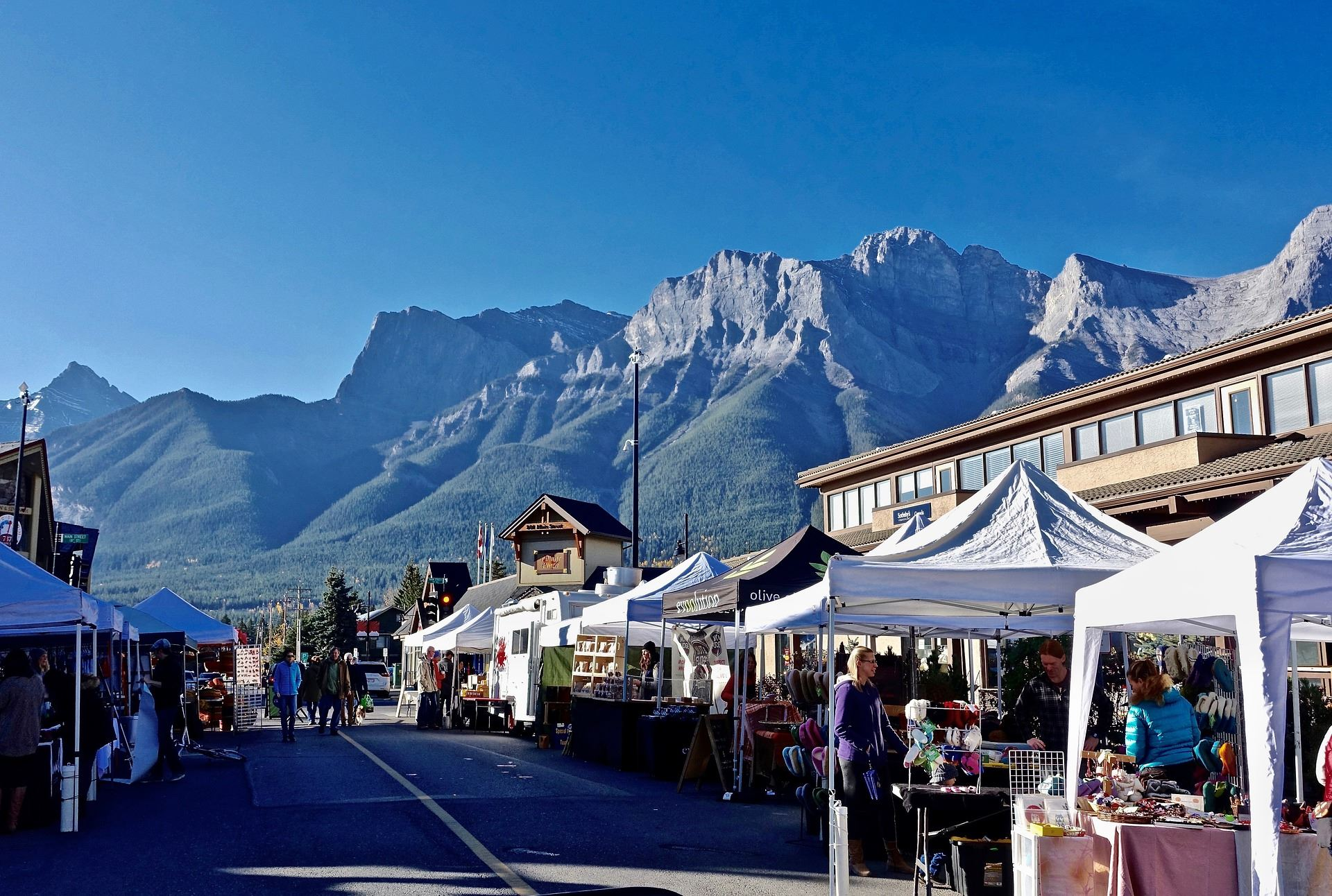 Farmers Market Booths with a Mountain Vista